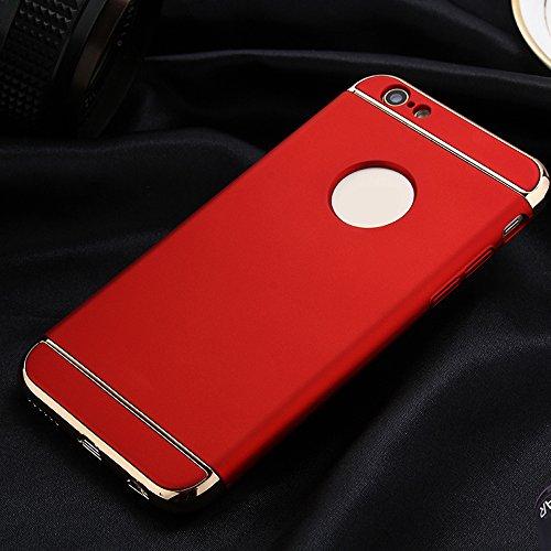 Skitic Ultra Mince Housse de Protection Étui Coque pour Cell iPhone 6 Plus / 6S Plus, Luxe 3 In 1 Hybrid Dur PC Etui Protecteur Bumper Housse avec Electroplate Plating Mirror Back Coquille Protective  rouge