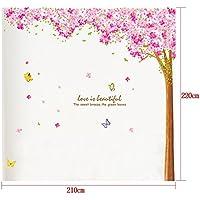 MING - Adesivi da parete per soggiorno, misura grande, motivo: alberi di ciliegio con petali in profusione e farfalle, ideale per camere da letto, dimensioni: 210 x 220