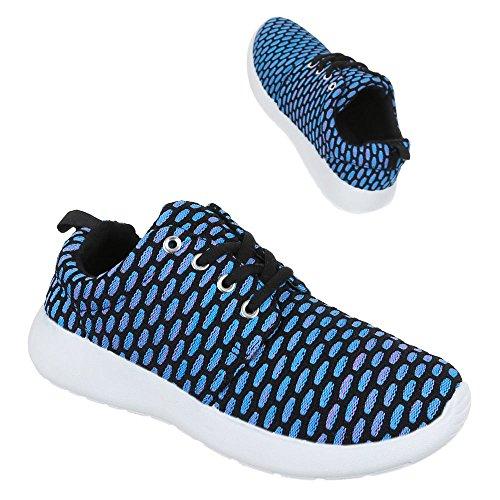 Low-Top Sneaker Damenschuhe Low-Top Sneakers Schnürsenkel Ital-Design Freizeitschuhe Blau 1