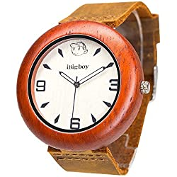 iBigboy Sex Holz Uhr mit Weichem Lederband und Palisander Lünette für Partei Uhr
