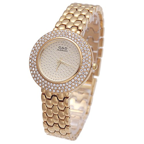 Sheli Iced Out Bling oro giallo Bracciale Orologio analogico al quarzo per le donne Dress uso quotidiano, 34 mm