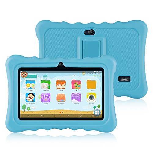 Ainol Q88 Tablet para Niños,Android 7.1, 1GB RAM + 16GB ROM,Resolución de 1024*600 Píxeles,Soporte de Funda de Silicona,Facilitando Educación y Entretenimiento para Niños,Color Azul