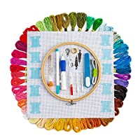 Hand Embroidery Starter Kit, 50 Premium Rainbow Color Embroidery Floss, Craft Cross Stitch Threads Tool Including Magic Pen, Bamboo Embroidery Hoops for DIY Sewing Knitting Knit Crochet