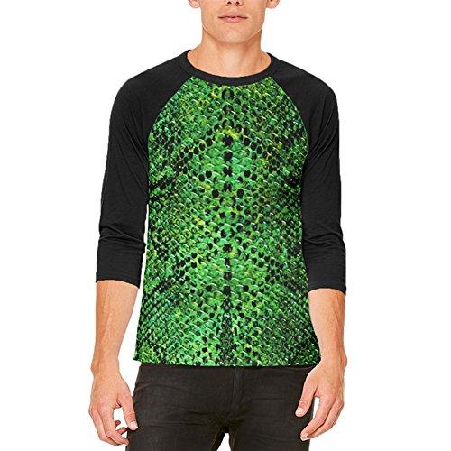 Halloween-grüne Schlange Snakeskin Kostüm Herren Raglan T Shirt weiß-schwarz LG