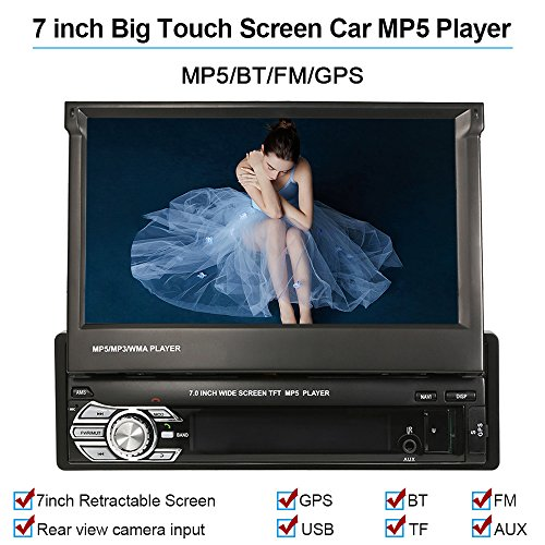 KKmoon Universel 7' Haute Qualité Autoradio Voiture BT Stéréo de Radio MP5 Player GPS Navigation Escamotable Player avec FM USB