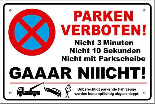 PREMIUM PS01 Parkverbotsschild lustig Schild Parken verboten inkl. Schrauben & Löcher / 300 x 200 x 3 mm