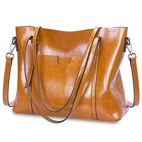 S-ZONE Damen Vintage 3-Way Echtes Leder Tote Schultertasche Handtasche Mode Handtasche Messenger Bag (Leder Damen Echt)