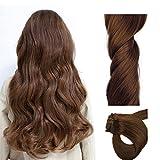 ChicFusion Extensiones de Clip de Pelo Natural Cabello Humano - 100% Clip in Human Remy hair Extensions - #6 Castaña Marrón 100g 55cm