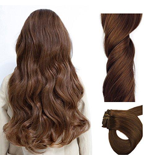 Chicfusion extensions clip capelli umani 100% remy capelli veri resistente al calore 180 centigrado -castano scuro 100g