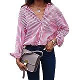 Juleya Blusas Talla Grande Camisas Mujer Rayas Tshirts Camisetas Manga Larga Suelto Pullover Trabajo Diario Casual Otoño Invierno Primavera Rosa Azul Marrón XS - 5XL