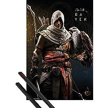 Póster + Soporte: Assassin's Creed Póster (91x61 cm) Origins, Bayek Y 1 Lote De 2 Varillas Negras 1art1®