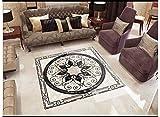 Benutzerdefinierte Fototapete Boden Malerei Aufkleber Schwarzen Und Weißen Marmor Steingang Selbstklebende Pvc Boden Tapete 140X100cm