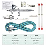KKmoon Dual Action Gravity Feed Airbrush Kit with 1.8m Hose 0.2mm/0.3mm/0.5mm Needle 9cc