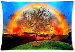 Elegant Comfort Luxurious Silky Soft Sunset Glow Tree Beautiful Scenery Zippered Pillow Case 20x30 inch (one side)