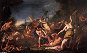 Peinture à l'huile - 24 x 15 inches / 61 x 38 CM - Gregorio Lazzarini - Orphée et les bacchantes ...