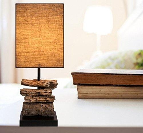 """Treibholz Lampe Nachttisch Designlampe \""""DRIFTWOOD\""""   100{8ae57223a5d3313e6d903ea2383b121fe320eb02014e41d2a44565216582f84d} Handarbeit   Markenware von GI Design   Höhe: 48cm   Dunkel  """