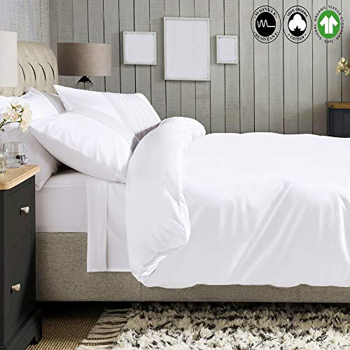 Tight White Collection (A1 Home Collections A1HC Luxury Twin Size GOTS Certified Single Ply Long Staple Organic Cotton Solid White Wrinkle Resistant Set(Duvet Cover(68