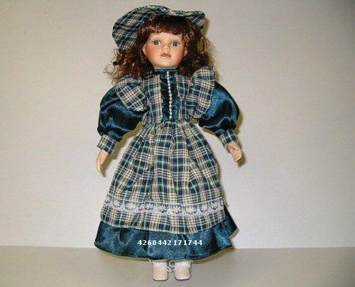 Dekopuppe Edith blaugrün kariert. Künstlerpuppe oder Sammlerpuppe ca. 35cm Größe. Kopf, Hände und Unterschenkel aus Porzellan