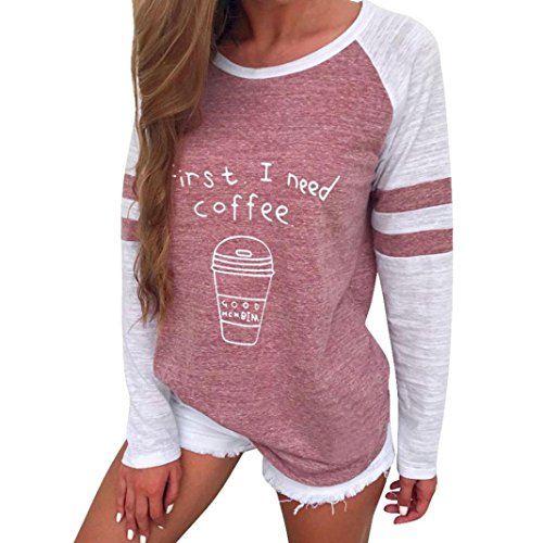 OVERDOSE Damen Lässige Blumen Splice-Streifen Druck Rundhalsausschnitt Pullover Bluse Tops T-Shirt (S, A-Z-A-Red)