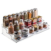 mDesign Expandable Kitchen Cabinet Organiser Rack for Spices, Condiments, Canned Food - 3 Tiers, Clear