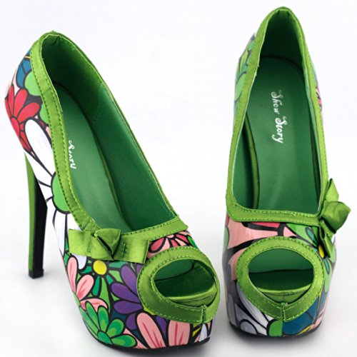 Show Story , Peep-Toe femme Multicolore - vert