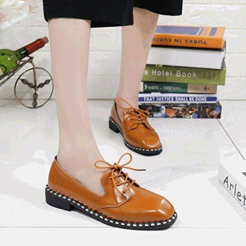 Damen Modische Schnürhalbschuhe Frühling/Sommer Atmungsaktiv Leichtgewicht Eckig Zehen Low-Top Schuhe Gelb