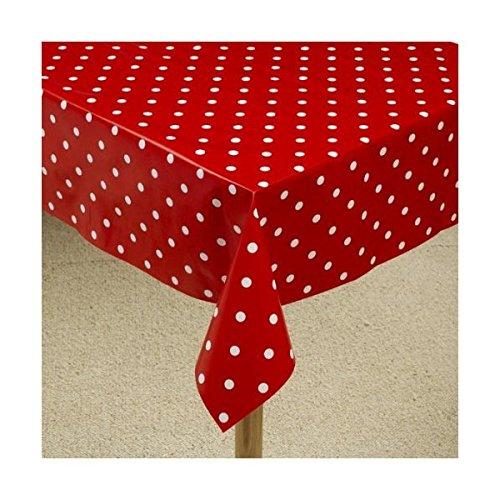 Wischen Sie Vinyl Rot Tischdecke Rot Polka Dot 140cm x 200cm (Polka Rot Tischdecke Dot)