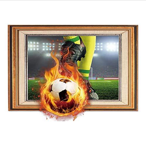 Namefeng Wandaufkleber Wandaufkleber Für Zuhause Schlafzimmer Dekorative Feuer Fußball Bilderrahmen Abnehmbare Aufkleber Wandtattoo 60X45 cm