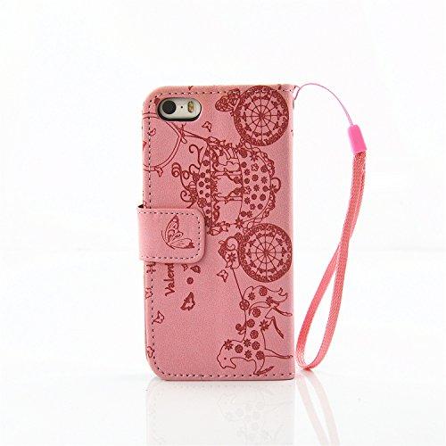 iPhone Case Cover IPhone 5S SE 5 Case, Résine strass Embossed Flower papillon motif Case Folio Stand Case PU Leather Case avec slot Cash Card et Photo Window Hand Strap Stand Case pour IPhone 5S SE (  Pink