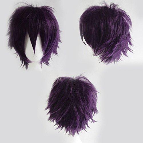 S-noilite® Unisex Kostüm Perücke Kurz Party Cosplay wig Kostueme Glatt Haar Perücken Wigs Damen Mann - Dunkel Lila