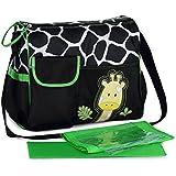 Fashion Cartoon Mommy Bag Baby Diaper Nappy Changing Bag Tote Bag Messenger Shoulder Bag (Green)