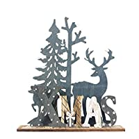 Blustercool Christmas Table Decoration Wooden Santa Claus Elk Snowman Festival Ornament Home Decor Xmas Gifts