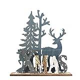ODJOY-FAN Weihnachten Hölzern Dekorative Weihnachtsmann Elch Schneemann Festival Ornament Hölzern Weihnachten Elch Zuhause Dekor Weihnachten Geschenke 20 x 17 cm(A,1 PC)