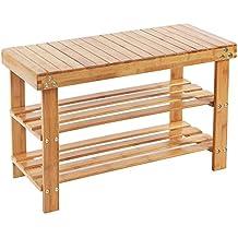 Songmics Étagère à chaussures, 100% bambou naturel, 2 niveaux, Meuble rangement, siège pour chausser LBS04N