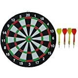 Skyfun Steel Tip 15 Inch Dart Board Set Game Double Faced Flock Printing Thickening Family Game Bristle Dartboard With 4 Needle For Kids,Adults