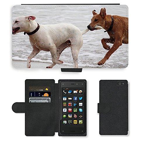 Just Phone Cases PU LEDER LEATHER FLIP CASE COVER HÜLLE ETUI TASCHE SCHALE // M00421764 Hunde Stöckchen zu spielen Beißen Romp // Amazon Fire Phone