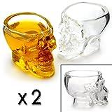 2er SET Schnapsgläser im Totenkopfdesign mit 6cl / 60ml Fassungsvermögen, Skull-Head Trinkgläser (Totenkopfglas), 4mm Glasstärke - Marke Ganzoo