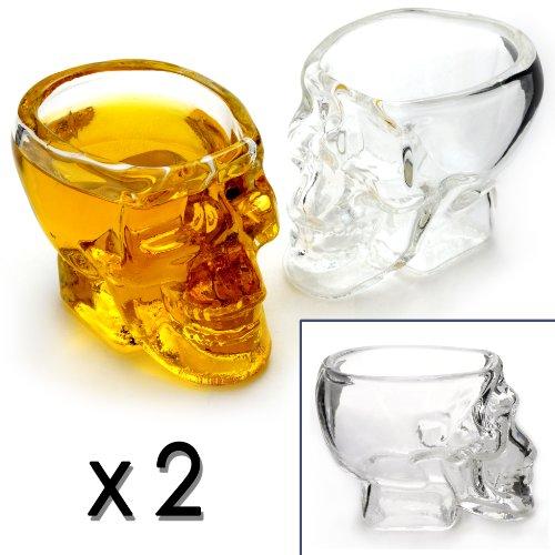Schnaps-Gläser im Totenkopf-Design im 2er Set, Skull-Head Shot-Gläser, 6cl / 60 ml