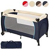 TecTake Kinderreisebett mit Schlafunterlage und praktischer Transporttasche Blau