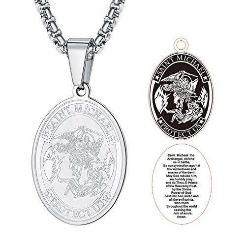FaithHeart Saint Micheal Serie, Mädchen Hals-Silberkette Silber 925 Engel-Anhänger Schutzengel Glücksbringer Längen-verstellbar Schmuck-Beutel Geschenk Schmuck