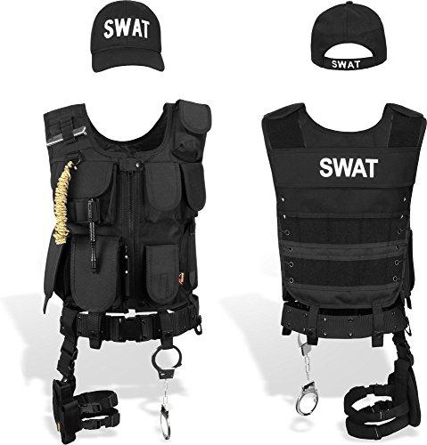 Fbi Kostüm Sexy - normani SWAT/Security/Police Set mit Weste im Einsatzstyle, Cap, Handschellen Farbe SWAT Größe M/Rechts