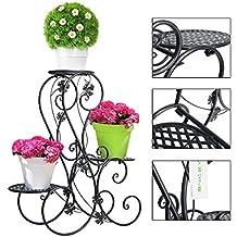 Dazone - Soporte de 3 pisos para macetas (metal, decoración para jardín o patio, capacidad para 3 macetas, expositor), color negro