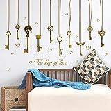 LBBWF Wandaufkleber Liebe schlüsselanhänger Ornament wandaufkleber schlüssel Schlafzimmer Wohnzimmer wandverzierung abziehbilder DIY abnehmbare Aufkleber