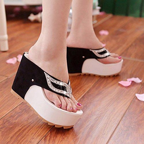 Amcool Bunt Mode Weich Damen Flip Flops Sandalen Bohemia Loafers Weiß