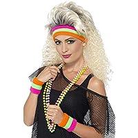Smiffys Unisex Schweißbänder Set, 1 Stirnband, 2 Armbänder, One Size, Neon Bunt, 41561