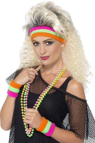ißbänder Set, 1 Stirnband, 2 Armbänder, One Size, Neon Bunt, 41561 (Neon Fancy Dress Outfits)
