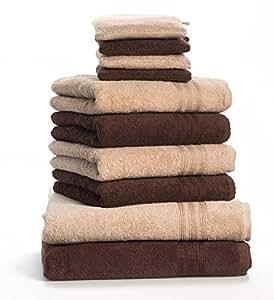 Dream Art Frottier 3487 Fb. 3711 10-teilig Handtuchset 2x Duschtuch 70/140, 4x Handtuch 50/100 und 4x Waschhandschuh 16 x 21 cm, beige / dunkelbraun