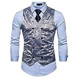 Showu Herren Paisley Weste Slim Fit Geschäft Hochzeit Elegant Anzugweste Stil Blazer (Grau, L)