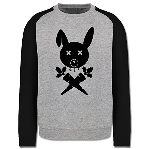 Sonstige Tiere - Hase Skull - Herren Baseball Pullover Grau Meliert/Schwarz