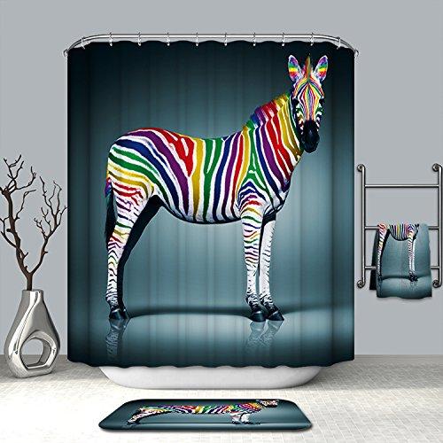 Zebra-print-thema (maplehome Animal World Thema Muster Vorhänge Dusche Badezimmer Vorhang 182,9x 182,9cm Wasserdicht moldproof Wasserdicht Duschvorhang, Polyester-Badezimmer Home Dekoration, 180* 180CM, 100 % Polyester, Color Zebra, 72